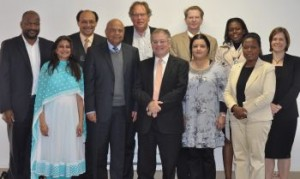 Pictured from left are: Vuyo Jack, Nirupa Padia, Cecil Morden, Former Finance Minister Pravin Gordhan, Matthew Lester, Judge Dennis Davis, Kosie Louw, Tania Ajam, Nara Monkam, Annet Wanyana Oguttu and Ingrid Woolard. Mr Morden and Mr Louw are ex-officio members of the committee.